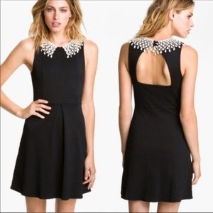 FREE PEOPLE | Black dress with cream lace collar